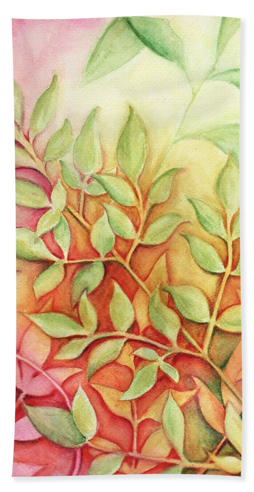 Leaves Bath Sheet featuring the painting Nandina Leaves by Carla Parris