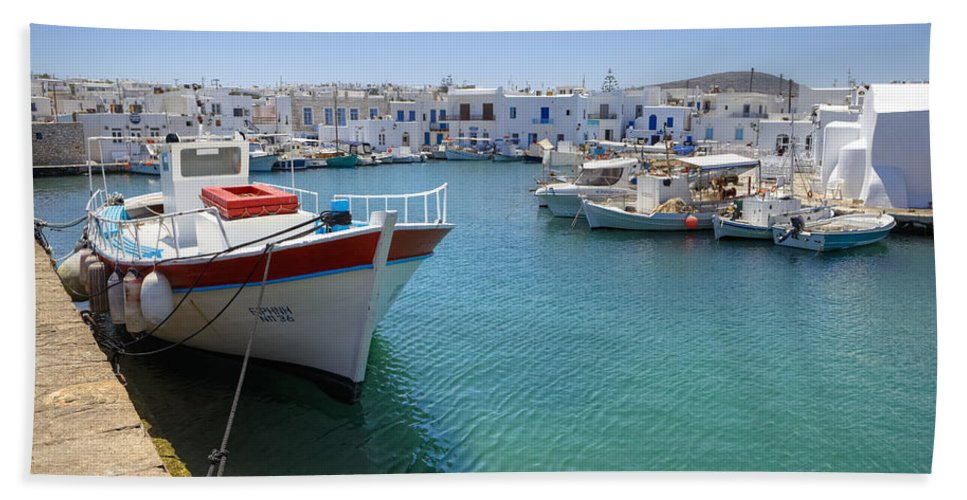 Naoussa Bath Sheet featuring the photograph Naoussa - Paros by Joana Kruse