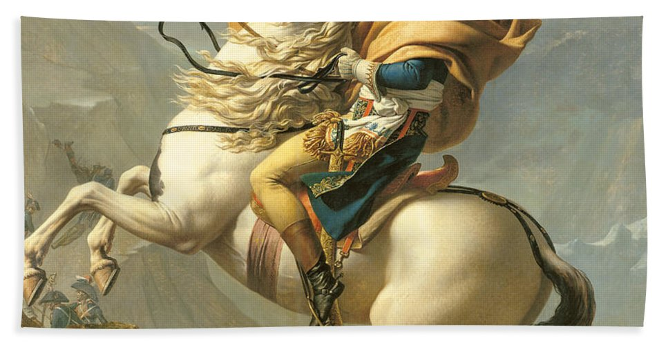 Emperor; Horse; Rearing; I; Male; Portrait; Saint; Riding; Saint-bernard; Saint Bernard; Iconic Bath Sheet featuring the painting Napoleon by Jacques Louis David