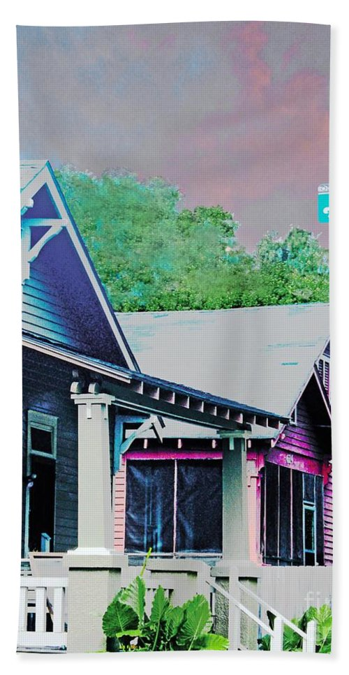Beauregard Town Hand Towel featuring the digital art Napoleon Street Beauregard Baton Rouge by Lizi Beard-Ward