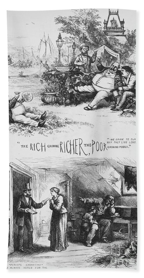 1871 Bath Sheet featuring the photograph Nast: Tweed Ring Cartoon by Granger