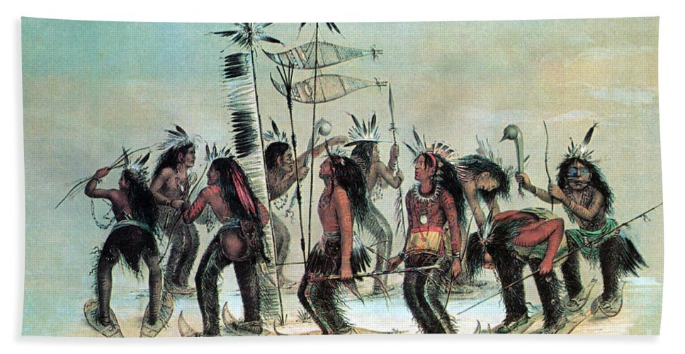 History Hand Towel featuring the photograph Native American Indian Snow-shoe Dance by Photo Researchers