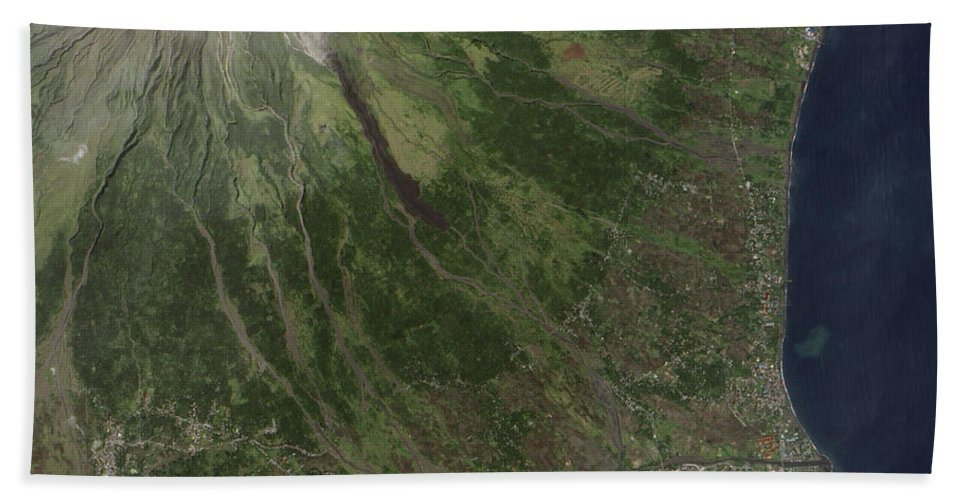 Landform Bath Sheet featuring the photograph Natural-color Image Of The Mayon by Stocktrek Images