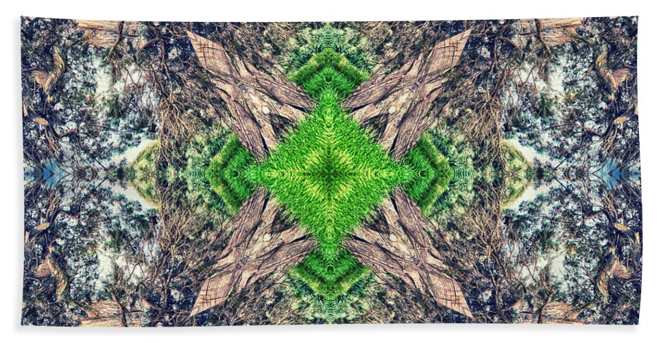 Abstract Hand Towel featuring the photograph Nature Mandala by Stelios Kleanthous