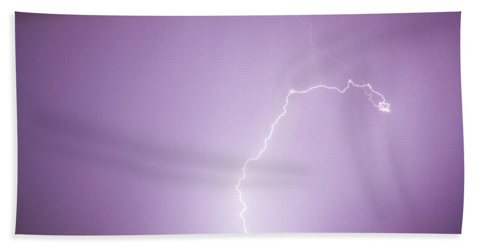 Lightning Hand Towel featuring the photograph Nature Showing Face by James BO Insogna