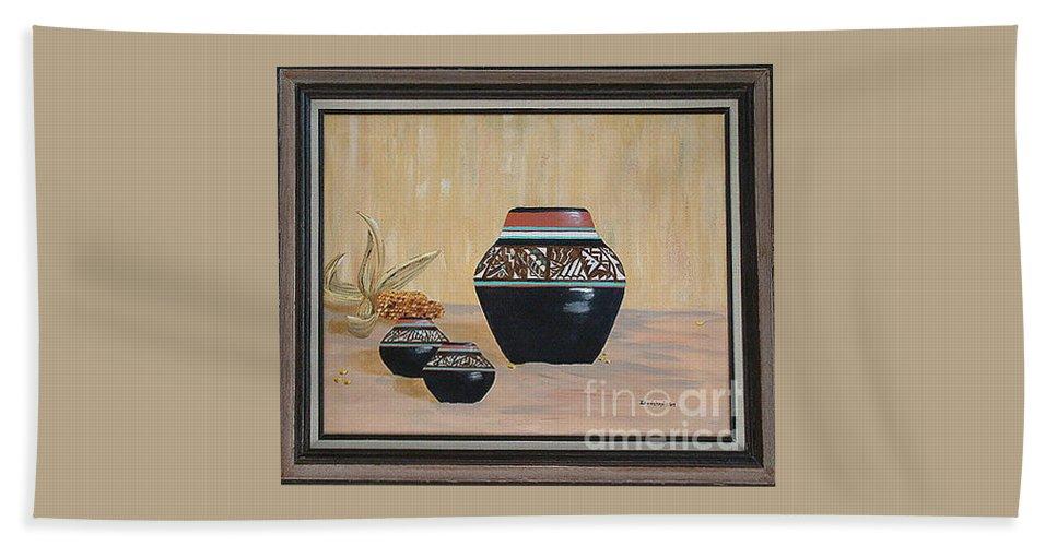 Navajo Pots Bath Sheet featuring the painting Navajo Pots by Don Monahan