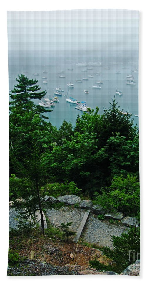 Thyla Garden Hand Towel featuring the photograph Ne Harbor Maine Seen From Thuya Gardens Mt Desert Island by Lizi Beard-Ward