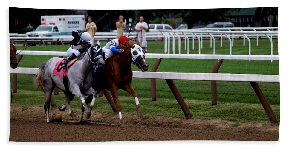Horse Racing Bath Sheet featuring the photograph Neck And Neck At Saratoga Two by Joshua House