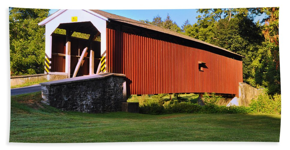 Neff's Hand Towel featuring the photograph Neff's Mill Covered Bridge In Lancaster County Pa. by Bill Cannon