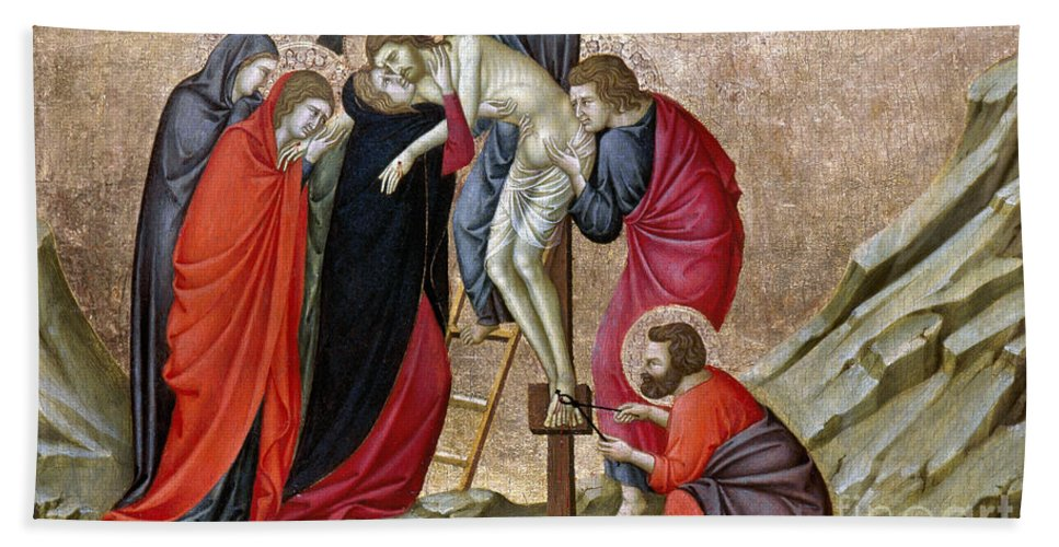14th Century Hand Towel featuring the photograph Nerio: The Deposition by Granger