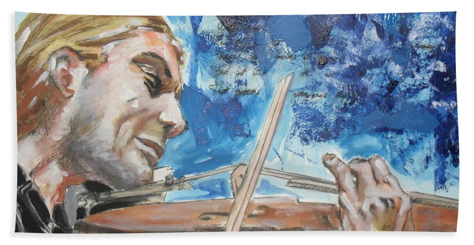 Watercolor Mixed Media Portrait Music Violin Blue Man Musician Sound Bath Sheet featuring the painting Never Forget The Sound Of Violin by Agnes V