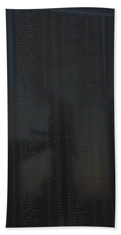 War Bath Sheet featuring the photograph New Jersey Korean War Memorial Reflection by Richard Bryce and Family