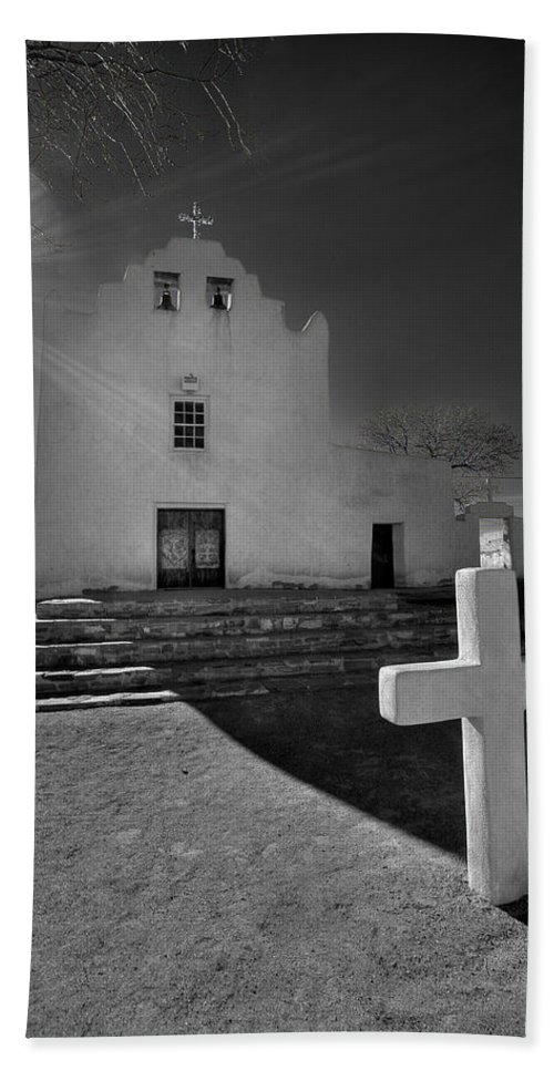 Architecture Bath Sheet featuring the photograph New Mexico Church by Peter Tellone