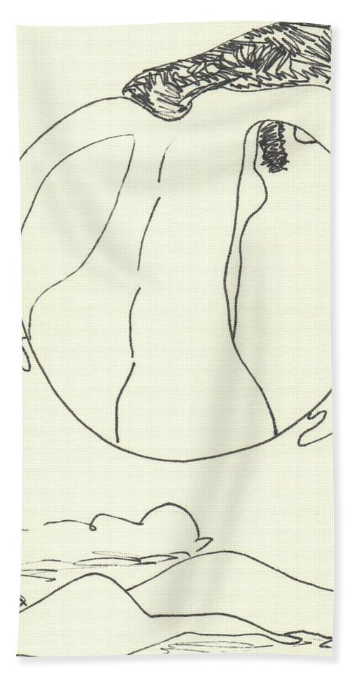Drawing Bath Sheet featuring the drawing New Mexico Moon 3 by Catherine Helmick