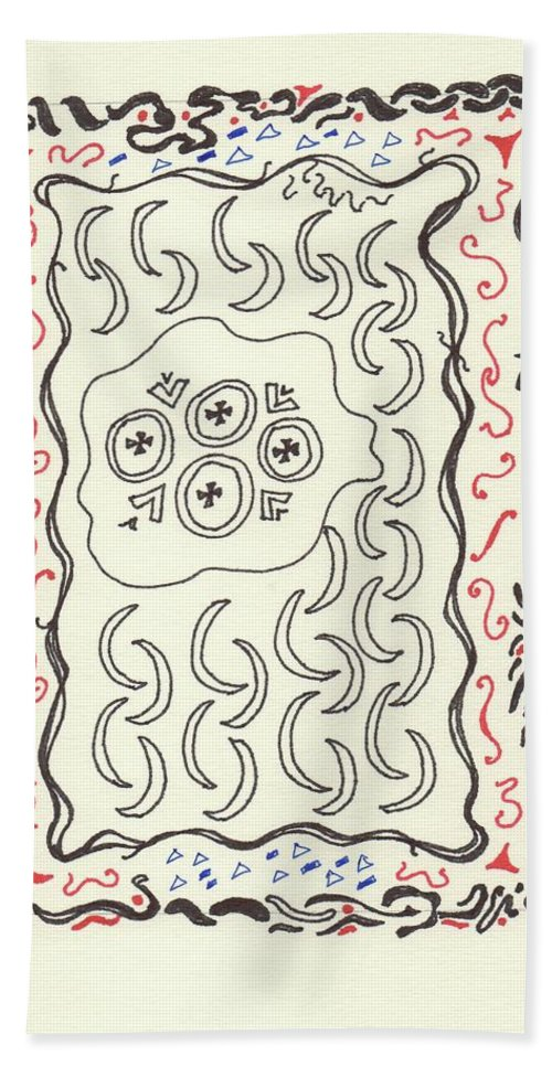 Drawing Bath Sheet featuring the drawing New Mexico Moon 4 by Catherine Helmick