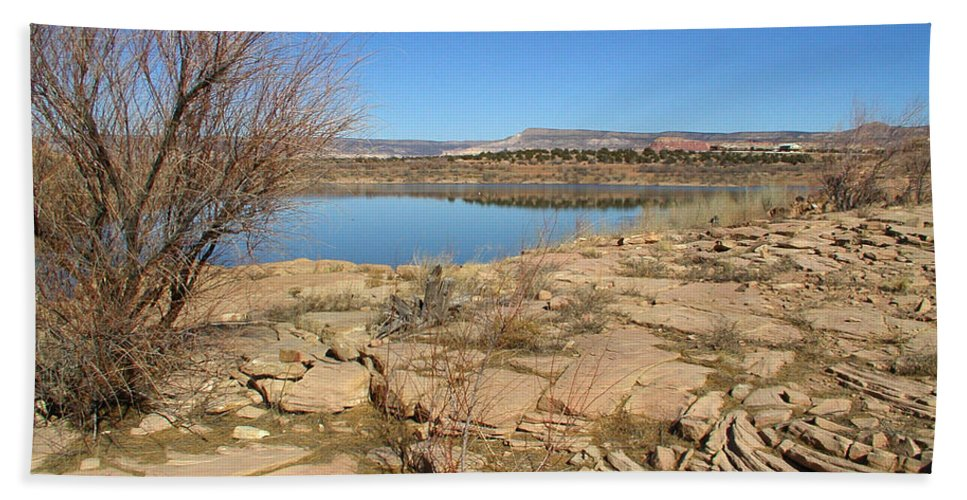 Lake Hand Towel featuring the photograph New Mexico Series - Abiquiu Lake IIi by Kathleen Grace