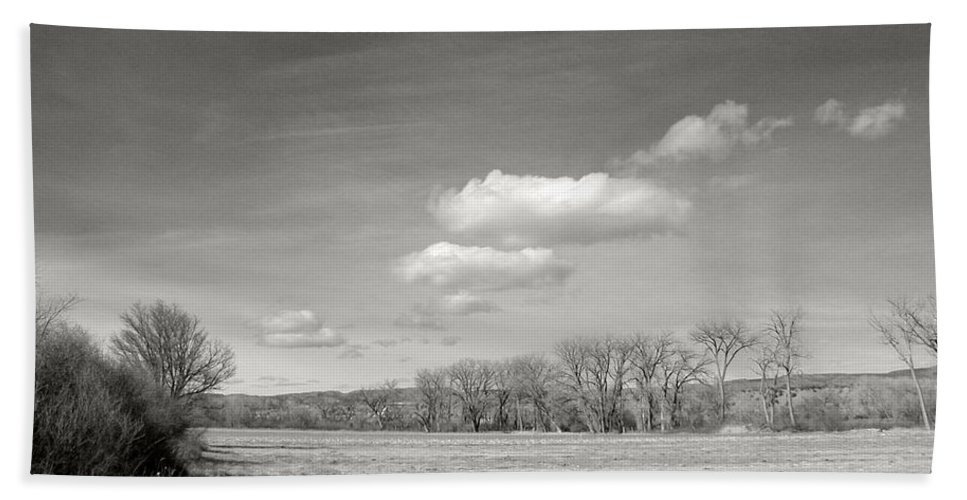 Landscape Hand Towel featuring the photograph New Mexico Series - The Long View Black And White by Kathleen Grace