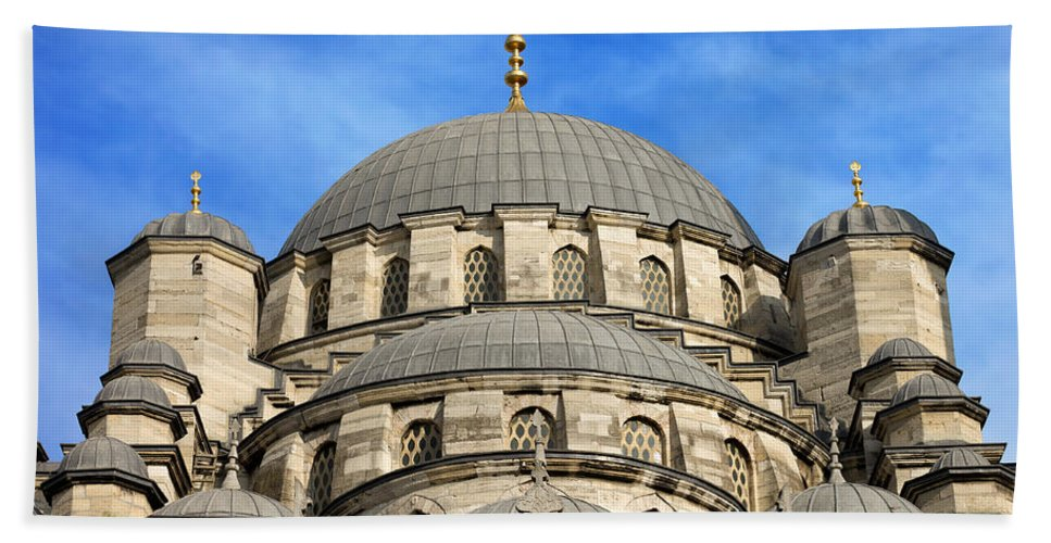 Mosque Bath Sheet featuring the photograph New Mosque Domes In Istanbul by Artur Bogacki