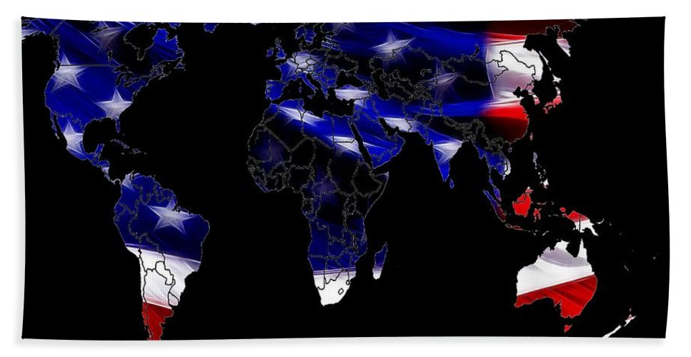 Map World Digital Art Atlas Country America Africa Asia Europe Australia Color Colorful Expressionism Impressionism Save American Usa Stars Stripes Flag Bath Sheet featuring the digital art New World Map by Steve K