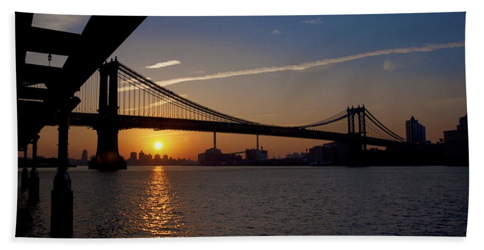 New York City Sunrise Hand Towel featuring the photograph New York City Sunrise by Bill Cannon