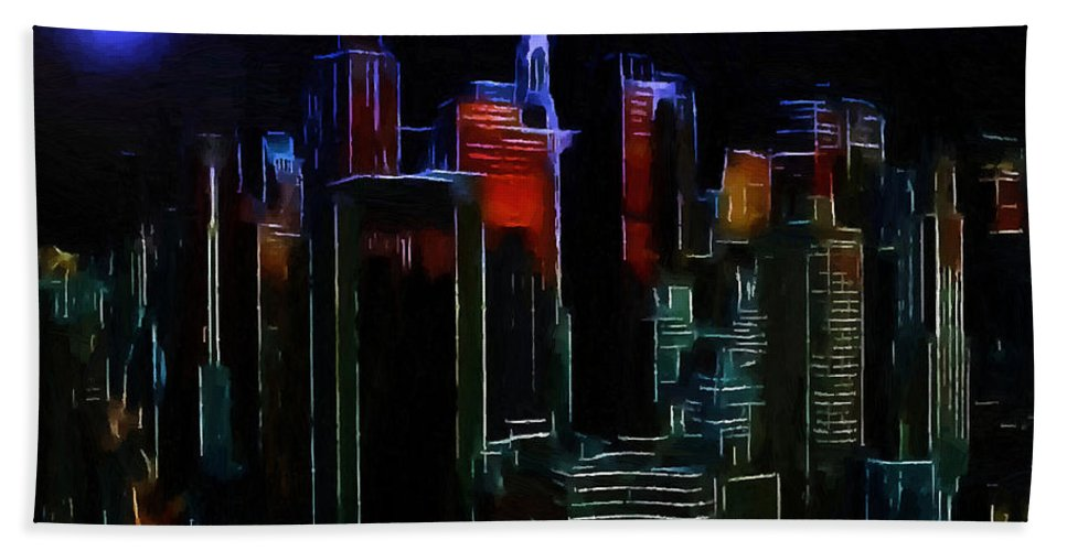 New York City Nyc Ny Big Apple Skyscrapers Night Ligh Lights Moon Moonlight Oil Painting Expressionism Blue Color Colorful Modern Art Cityscape Nightscape Midnight  Bath Sheet featuring the painting New York Midnight by Steve K