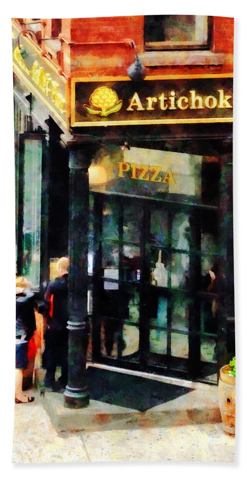 Pizza Bath Sheet featuring the photograph New York Pizzeria by Susan Savad