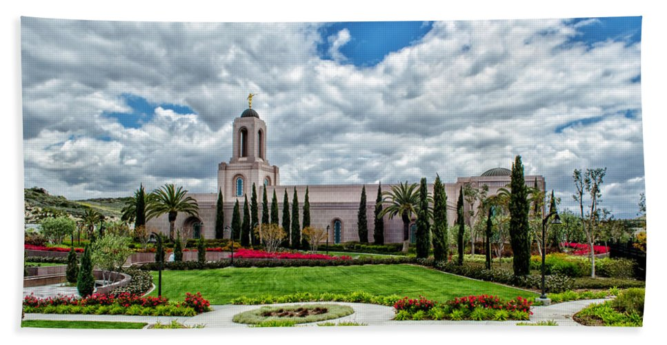 Architecture Hand Towel featuring the photograph Newport Beach Temple by La Rae Roberts