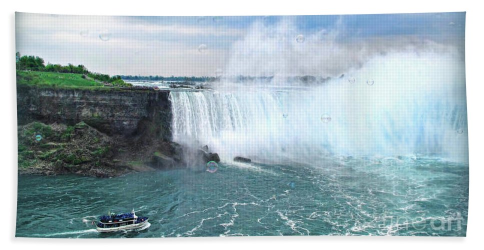 Niagara Hand Towel featuring the photograph Niagara Falls And The Bubbles by Joan Minchak