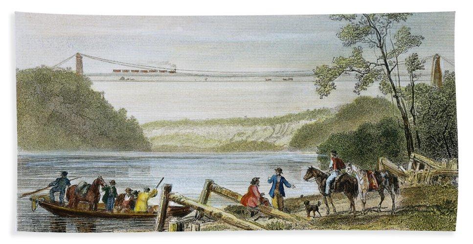 19th Century Bath Sheet featuring the photograph Niagara Falls Bridge by Granger