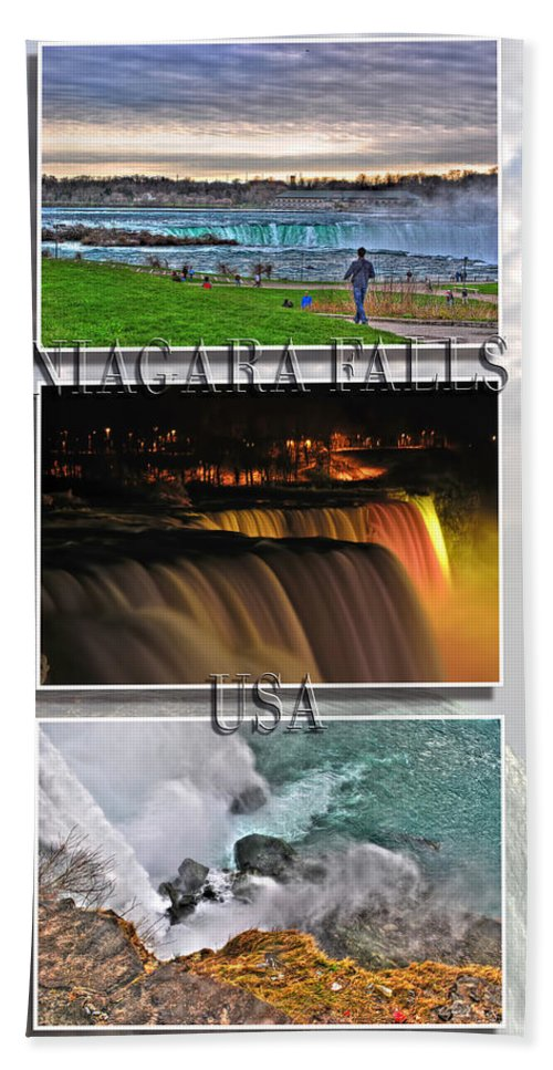 Hand Towel featuring the photograph Niagara Falls Usa Triptych Series With Text by Michael Frank Jr
