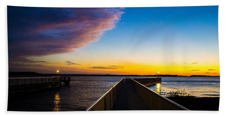 Pier Hand Towel featuring the photograph Night Approaches by Shannon Harrington