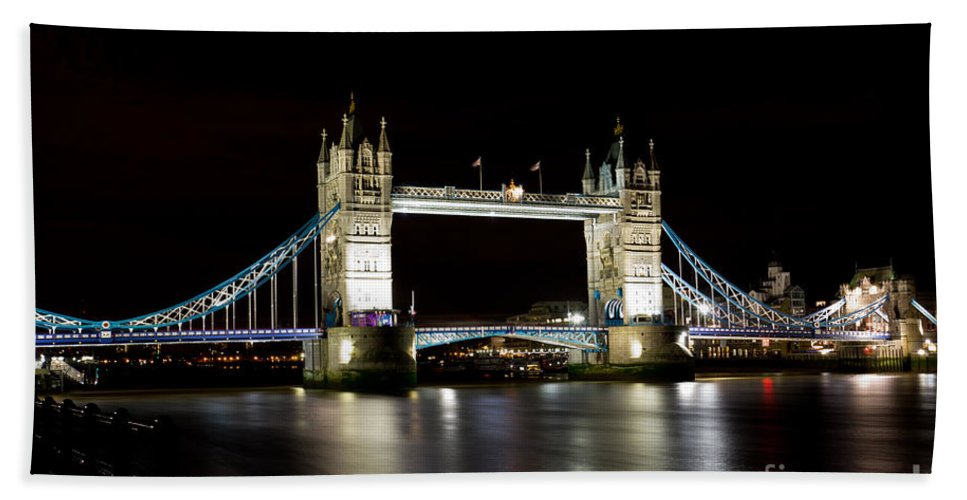 Thames Bath Sheet featuring the photograph Night Image Of The River Thames And Tower Bridge by David Pyatt