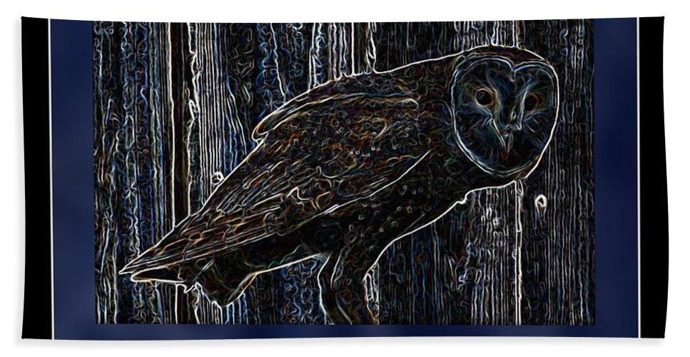 Owl Bath Sheet featuring the photograph Night Owl Poster - Digital Art by Carol Groenen