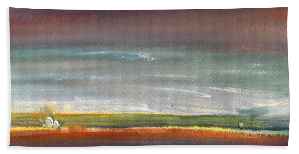 Times Hand Towel featuring the painting Nightfall 29 by Miki De Goodaboom