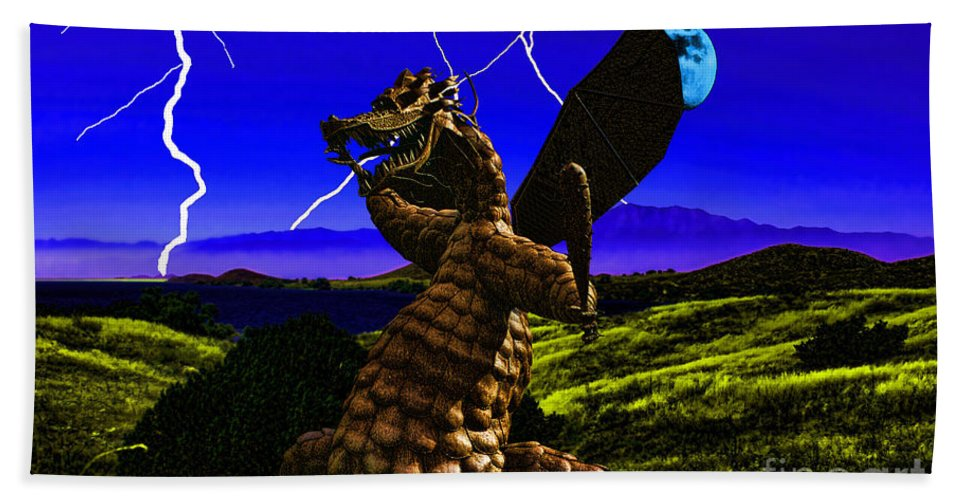 Dragon Hand Towel featuring the digital art Nightmare After Midnight by Tommy Anderson