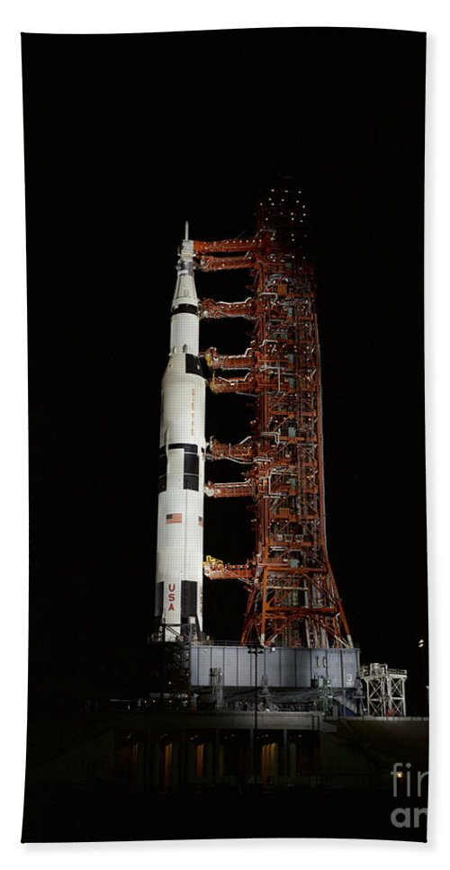 1970 Bath Sheet featuring the photograph Nighttime View Of The Apollo 13 Space by Stocktrek Images