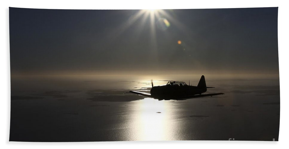Transportation Bath Sheet featuring the photograph North American T-6 Texan Trainer by Daniel Karlsson