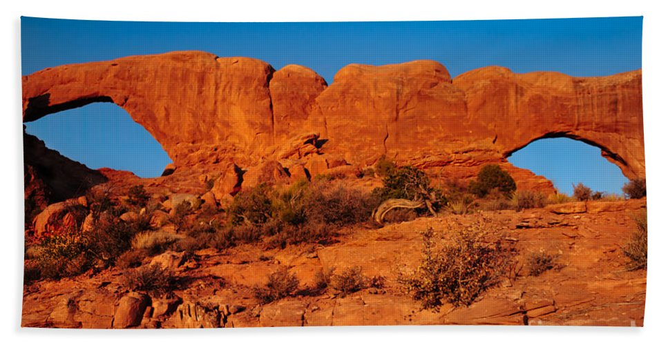 Arches Bath Sheet featuring the photograph North And South Windows by Robert Bales