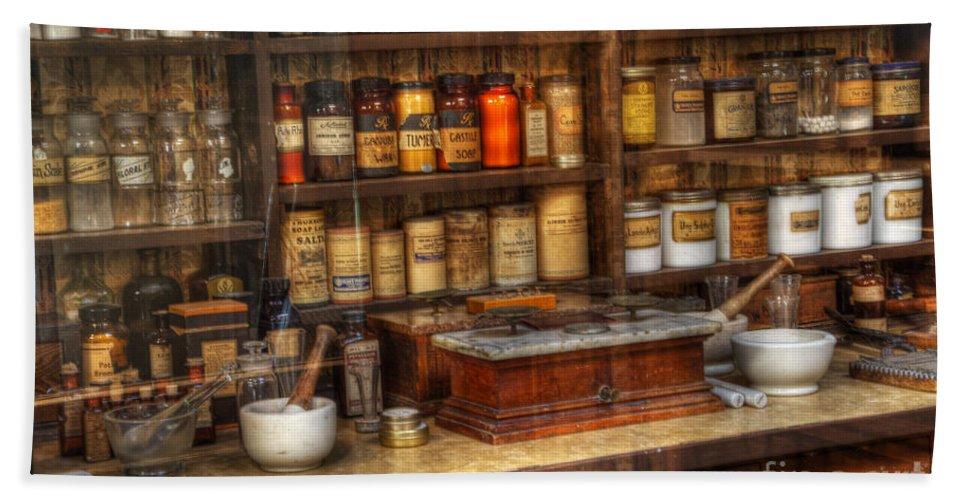 Nostalgia Bath Sheet featuring the photograph Nostalgia Pharmacy 2 by Bob Christopher