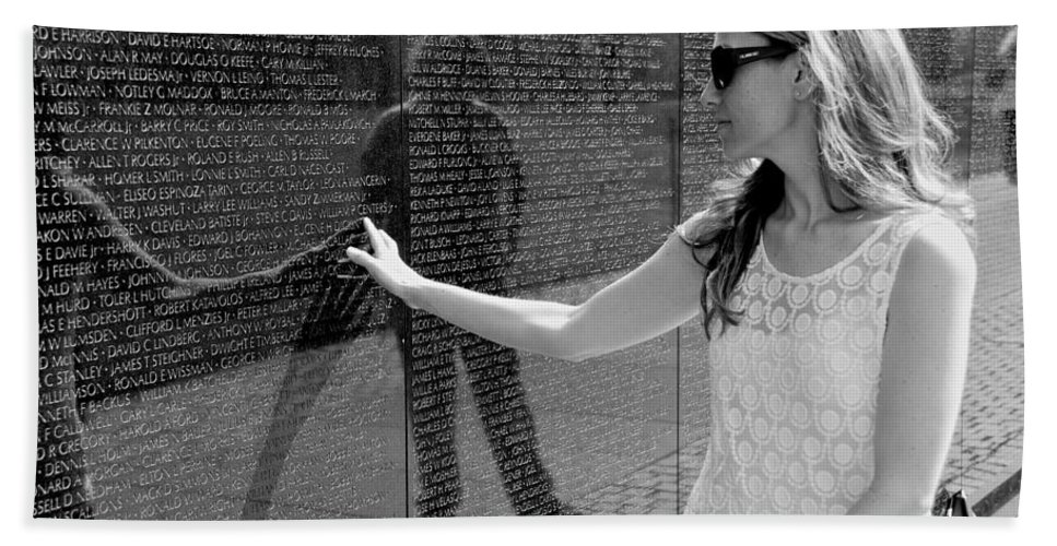 Viet Nam Memorial Hand Towel featuring the photograph Not Forgetting by Eric Tressler