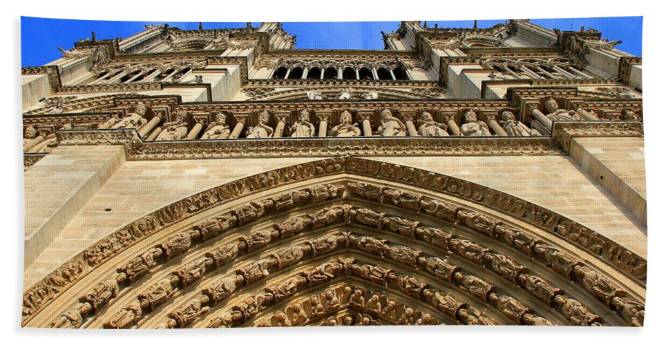 Notre Dame Cathedral Bath Sheet featuring the photograph Notre Dame Details 7 by Andrew Fare