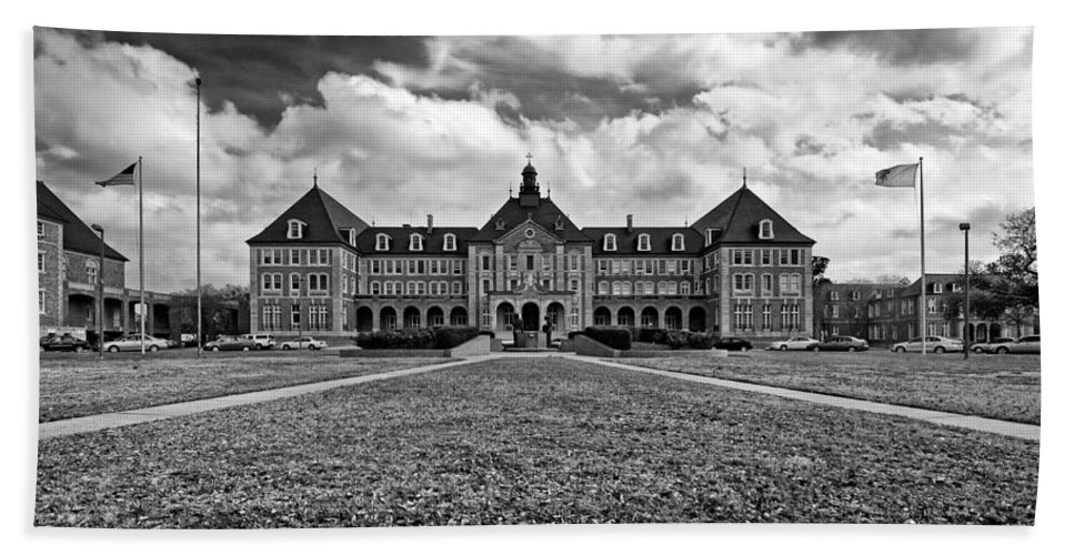 New Orleans Bath Sheet featuring the photograph Notre Dame Seminary Monochrome by Steve Harrington