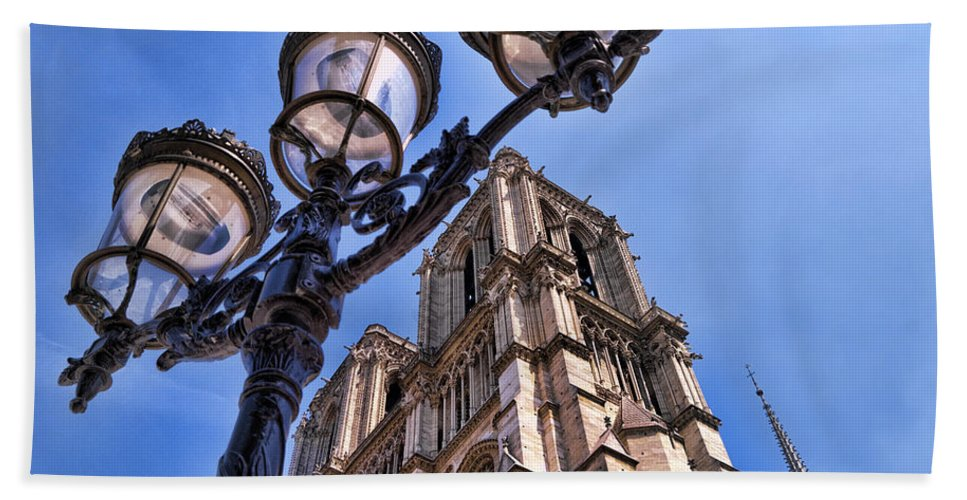 Notre Dame Cathedral Bath Sheet featuring the photograph Notre Dame Tower by Jon Berghoff