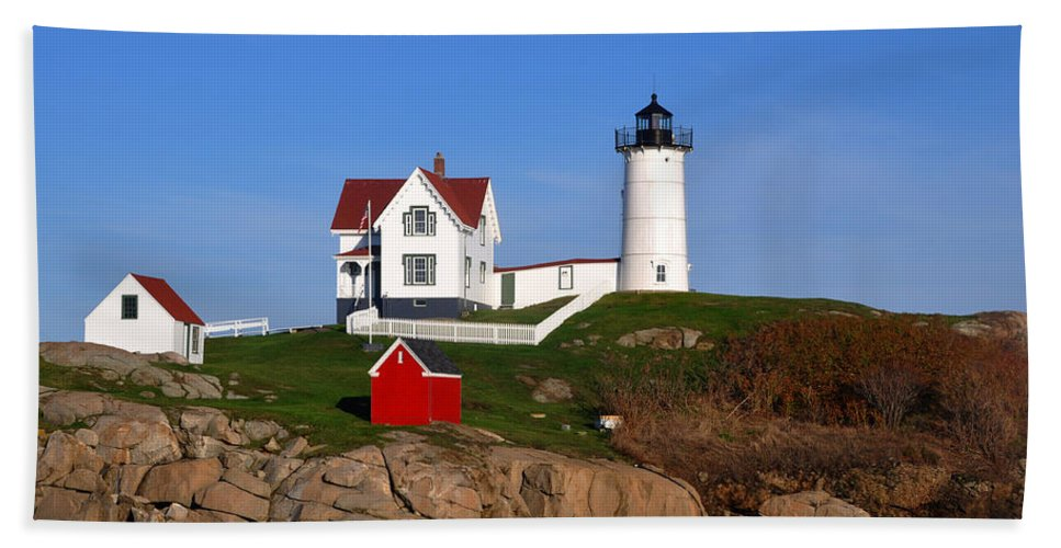 East Coast Bath Sheet featuring the photograph Nubble Light House by Brittany Horton