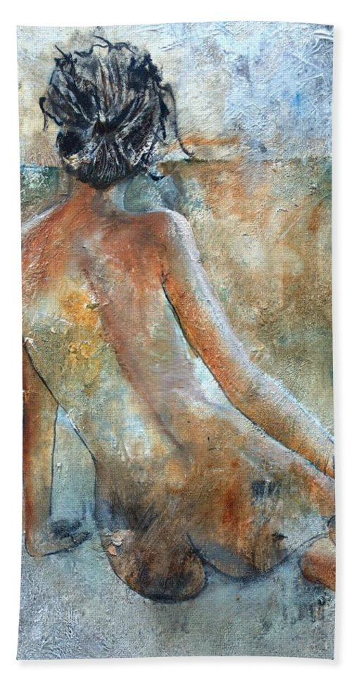 Nude Hand Towel featuring the painting Nude 564213 by Pol Ledent