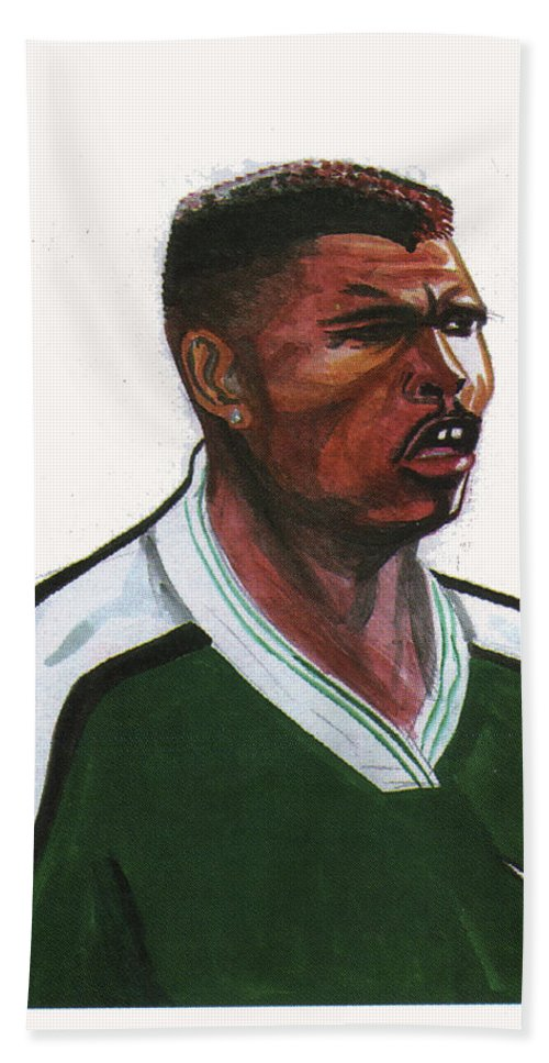 Portraits Bath Sheet featuring the painting Nwanko Kanu by Emmanuel Baliyanga