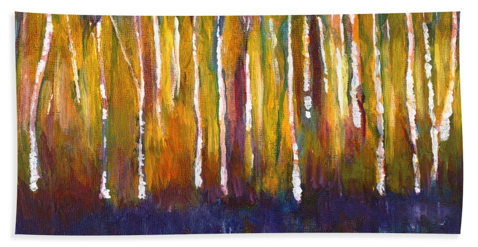 Muskoka Hand Towel featuring the painting Oak Bay Woods by Claire Bull
