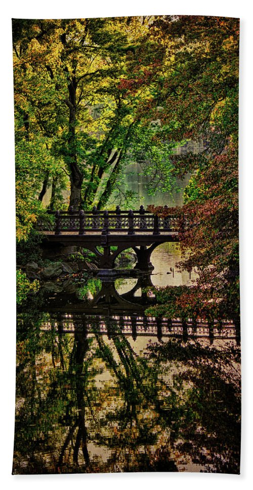 Autumn Bath Sheet featuring the photograph Oak Bridge In Fall by Chris Lord