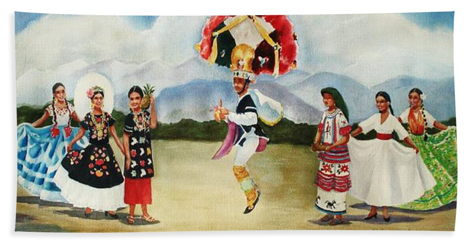 Mexico Hand Towel featuring the painting Oaxaca Dancers by Marilyn Jacobson