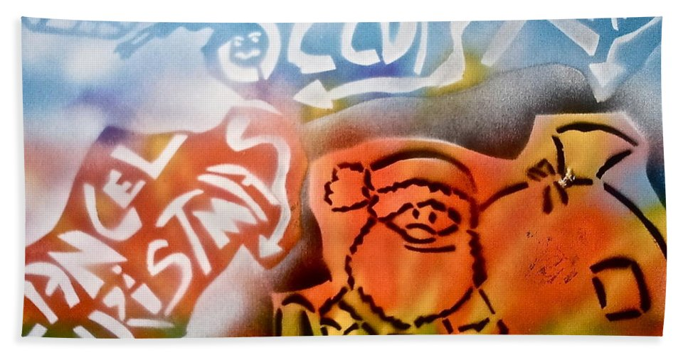 Occupy Bath Sheet featuring the painting Occupy X-mas by Tony B Conscious